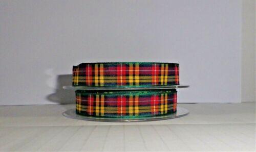 Buchanan Scottish Tartan Ribbon~16mm~1,2,3,4,or 5 metre lengths~Free Postage