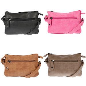 Kleine-Damen-Umhaengetasche-Schultertasche-Tasche-Leder-Optik-Bag-Schwarz-Pink