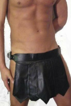 K13 Mans GENUINE LEATHER ROMAN GLADIATOR KILT LARP  ALL SIZES