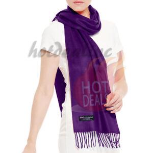 43e185d37 Details about Men Women unisex 100% CASHMERE Soft Plain solid Dark Purple  Wool Scarf