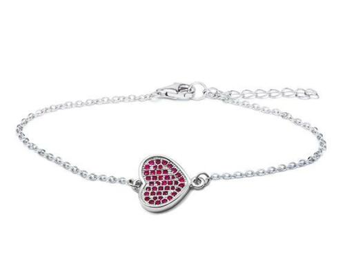 Platinum Sterling Silver Pink Sapphire Pave Heart Link Cable Tennis Bracelet