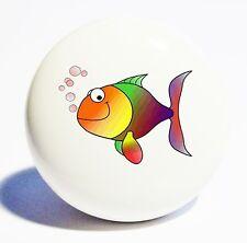 CARTOON FISH HOME DECOR CERAMIC KNOB DRAWER CABINET PULL