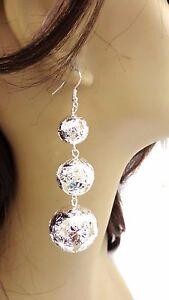 Image Is Loading Silver Ball Earrings Tone Dangle Tier