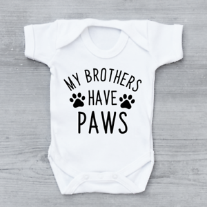 My Brothers Have Paws Baby Vest Grow Bodysuit Funny Baby Shower Baby Gift Pets