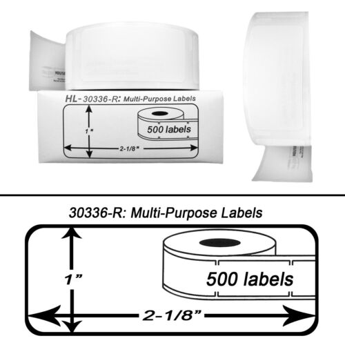 12 Rolls of 500 REMOVABLE Multipurpose Labels for DYMO LabelWriters 30336-R