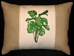 New-Embroidered-Tan-amp-Cream-Philodendron-Accent-Throw-Pillow-12-x-16-Item-119
