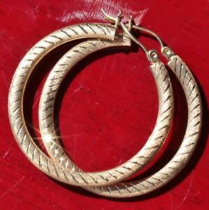 10k-yellow-gold-earrings-large-1-37-034-diamond-cut-hoop-vintage-handmade-2-5gr