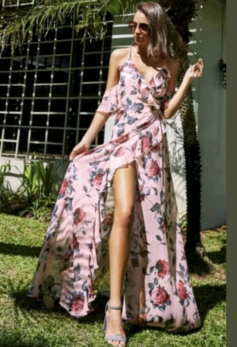 BNWT Lipsy Size 6 Floral Printed Cold Shoulder Ruffle Maxi Dress,New