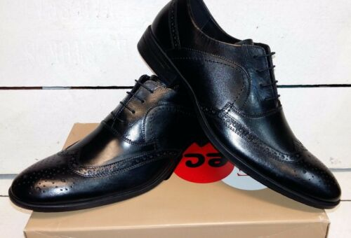 Men/'s Heavenly Feet Harvey Black Leather Brogue Lace Up Shoes