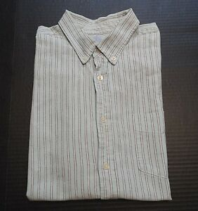 Merona-Mens-Shirt-Size-Large-Tailored-Fit-Button-Down-Striped-Long-Sleeve