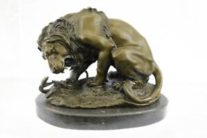 Handcrafted-Extra-Large-Lion-and-Serpent-Museum-Quality-Bronze-Artwork-Sculpture