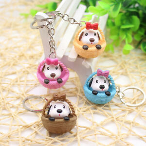Girl-Keyring-Bag-Pendant-Key-Chains-Keychain-Ring-Dog-Cat-Basket-Purse-Gift-GN