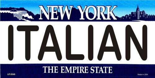 ITALIAN New York Novelty State Background Vanity Metal License Plate