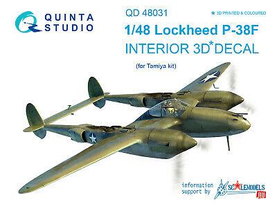 for Tamiya kit Quinta QD48031 1//48 P-38F 3D-Printed /& coloured Interior