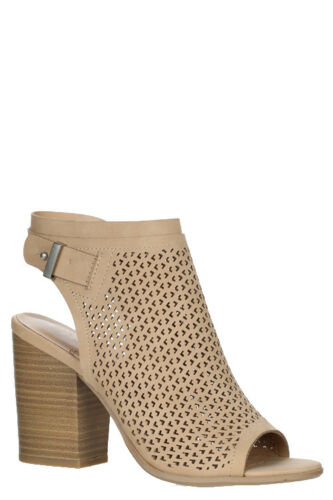 New Women/'s Fall Winter Cut-Out Perforated Peep Toe Chunky Heel Ankle Bootie