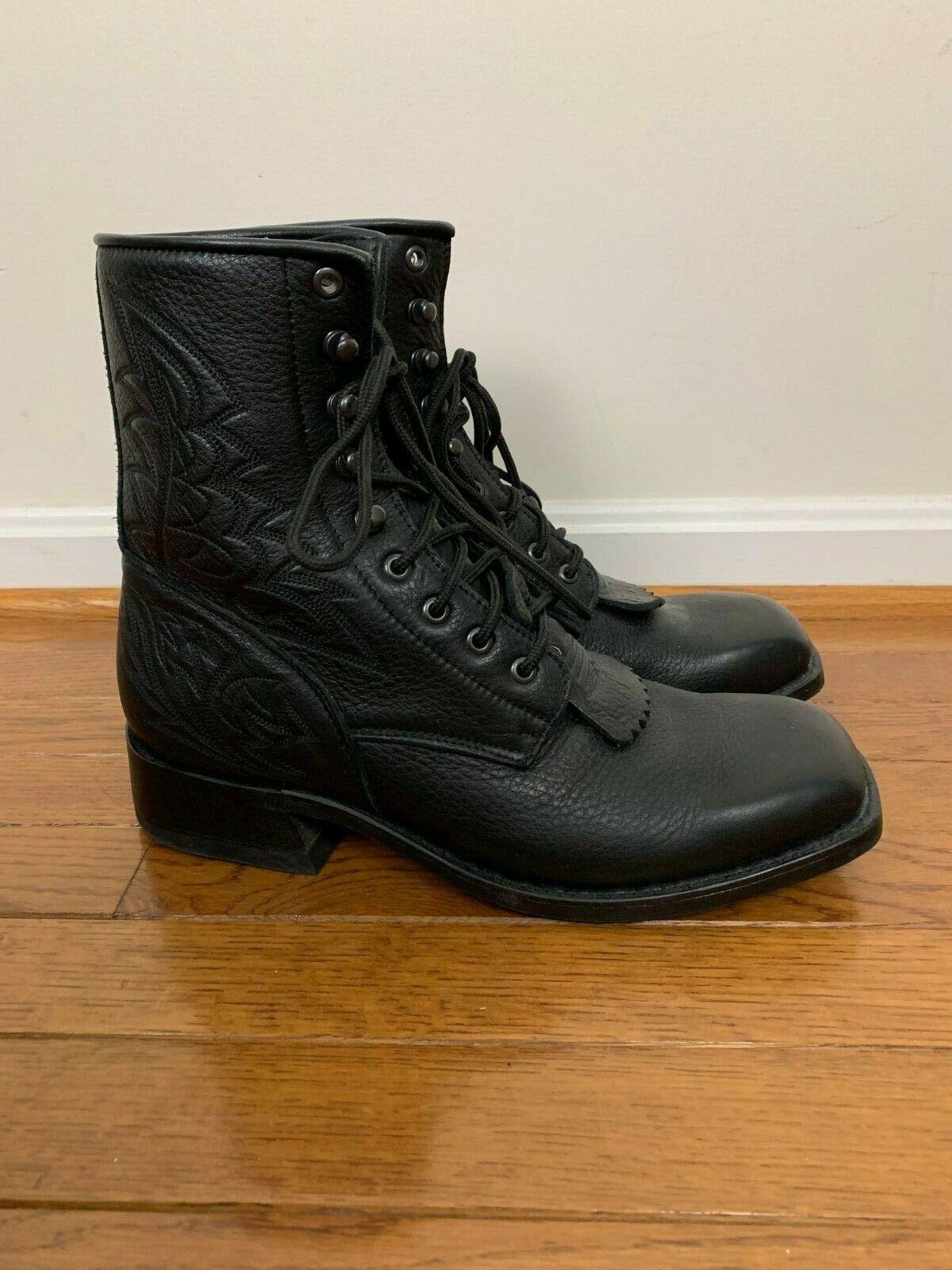 Excelente Road Wolf Negro Cuero botas auténtico tamaño 10