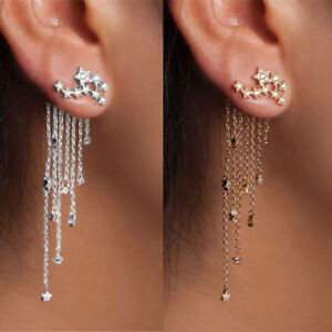 Shooting-Star-Rhinestone-Long-Tassels-Drop-Hook-Dangle-Earrings-Gold-Silver-New