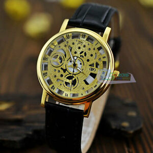 Fashion-Roman-Numbers-Silver-amp-Golden-Dial-Leather-Band-Luxury-Men ...