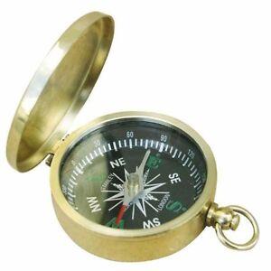 G4278: Kleiner Britischer Klappdeckel Kompass Mit Deckel Aus Poliertem Messing Tropf-Trocken