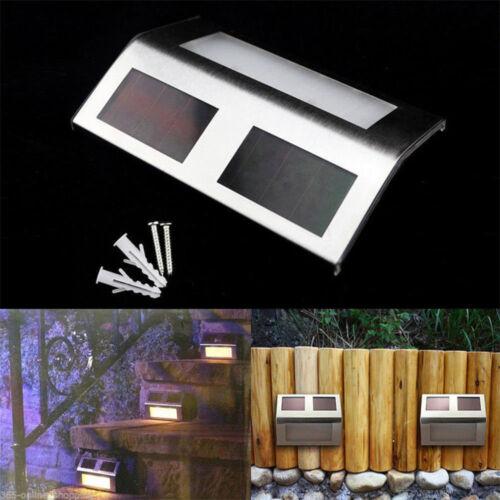 Solar Powered LED Outdoor Wall Light Stainless Steel Garden Step Lamp Waterproof