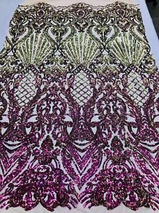 Purple Sequins 4 Way Stretch Sequin Fabric Spandex Mesh Prom-Gown By The Yard