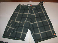 New Quiksilver green  plaid board shorts swim Diamond Dobby 4 way stretch 32