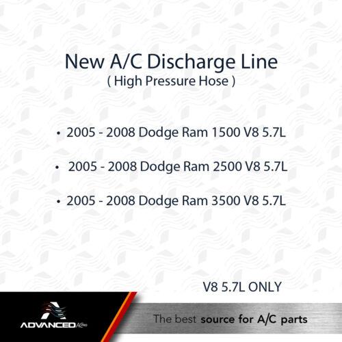 2005-2007 Dodge Ram 1500 2500 3500 V8 5.7L ONLY AC A//C Discharge Line Fits