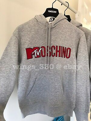 d9f15924ee4 Moschino TV H M Embroidered Hooded Sweatshirt Light Grey Melange NWT Women  XS
