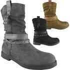 Womens Ladies Studs Strappy Mid Calf Flat Low Heel Biker Ankle Boots Shoes Size