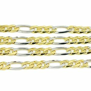 10k-Yellow-White-Gold-Figaro-Chain-Necklace-20-034-new-17-70g-2499c