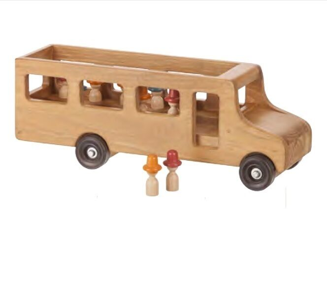 LARGE SCHOOL BUS with LITTLE PEOPLE - Large Amish Handmade Working Wood Toy USA
