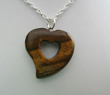 "1 x TIGER'S-EYE DOUBLE HEART STYLE PENDANT ON A 18"" SILVER CHAIN."