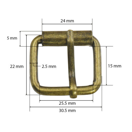 25mm Metal Square Roller Pin Belt Buckles Webbing Fastener Straps for Bag Shoes