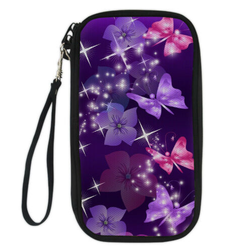 Purple Passport Holder Multiple Card Ticket Women Travel Wallet Butterfly Design
