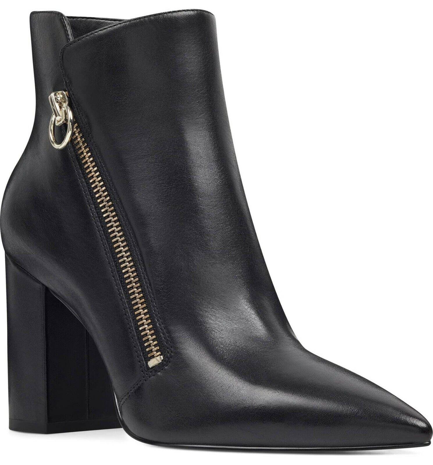Nine West Rusity Sexy Zipper nero  Leather Chunky Heel Dress avvioie 12M   presa