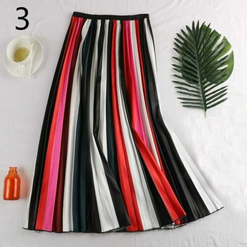 Lady Pleated Skirt Rainbow Striped A Line Midi Swing Dress Colorful Casual Chic
