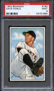 1952-Bowman-DAVE-KOSLO-182-New-York-Giants-PSA-9-LOW-POP-HIGHEST-GRADED