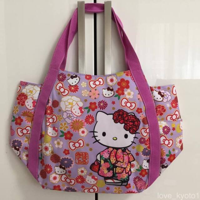 76c4b93ae F/S Hello Kitty Manufatto Japanese Kimono Flower Magnet Fastener Bag Kyoto  Japan