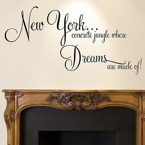 Image Is Loading New York Wall Sticker Quote Dreams Home Bedroom  Part 25