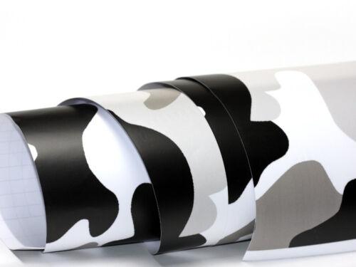 Camouflage Folie 1000cm x 152cm Luftkanäle Schwarz Weiß Grau Folie #6
