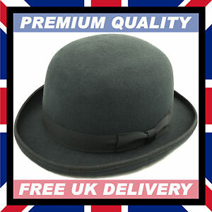 5bc5797f696 Image is loading HAND-MADE-BOWLER-HAT-100-Wool-Felt-Satin-