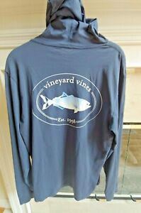 Vineyard-Vines-Mens-Navy-Blue-Fish-Hooded-T-Shirt-Size-XS-Soft-Cotton