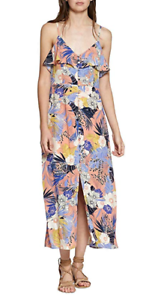 NEW-Sanctuary-Women-039-s-Isabella-Floral-Ruffled-Maxi-Dress-Orange-Size-XL