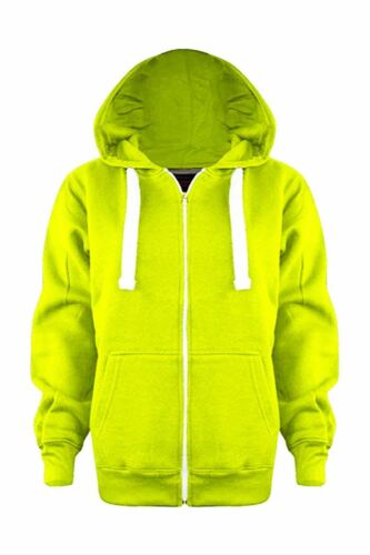 Boys Girls Plain Colour Hoodie Zip Fleece Sweatshirt Hoody Kids Hooded Jacket