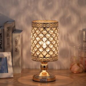 Gold Bedside Table Lamp Hanging Clear Crystal Lamp Shade