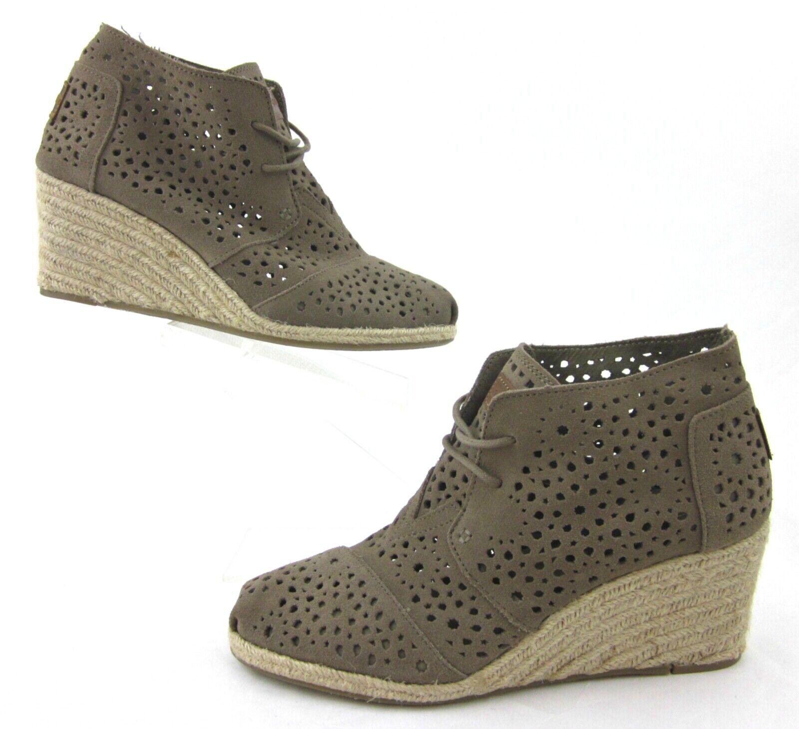 * NEUF! * Toms marocain Découpe Desert Wedge chaussons taupe en daim 9.5 US