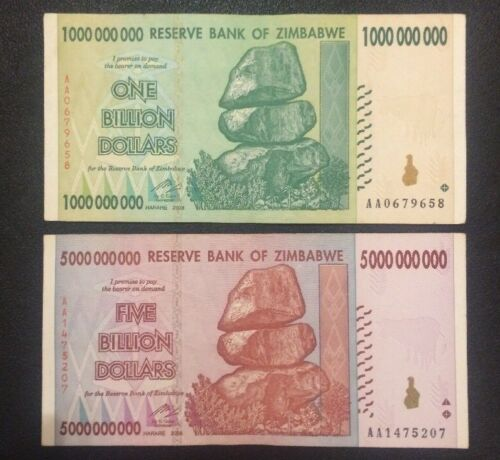 2008 World Currency P-83 and P-84 ZIMBABWE 1 and 5 Billion Dollars