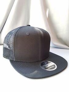447adefb3b9 New Era 9Fifty Flat Snapback Trucker Hat Cap Blank   BLACK BLACK ...