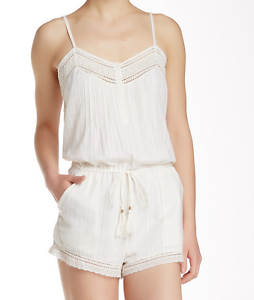 Twelfth Street by Cynthia Vincent Lace Trimmed Romper White L NWT  265