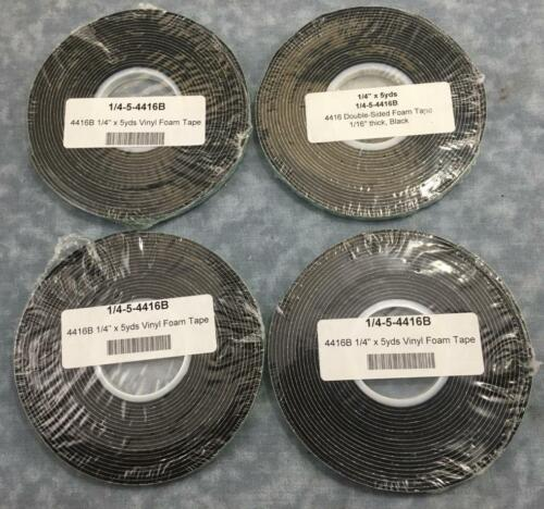 "4 ROLLS 3M 4416B 1//16/"" Thick Double Coated Vinyl Foam Tape 1//4/"" x 5 yards U80"